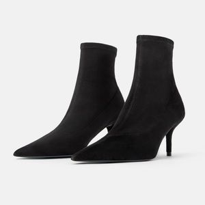 Zara blue collection stretch leather sock boot